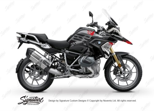 BKIT 3304 BMW R1250GS Black Storm Metallic Safari Red Black Stickers Kit 01