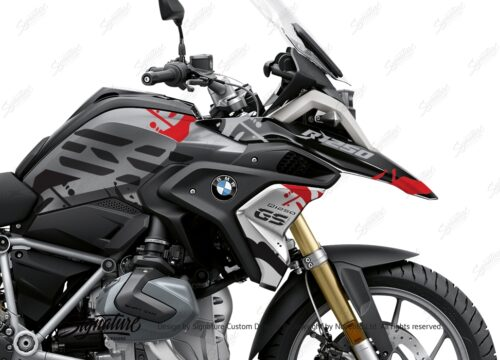 BKIT 3304 BMW R1250GS Black Storm Metallic Safari Red Black Stickers Kit 02