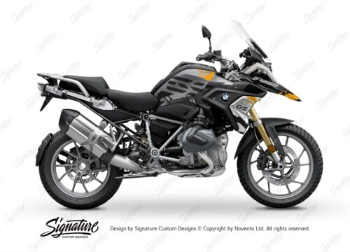 BKIT 3307 BMW R1250GS Black Storm Metallic Safari Yellow Black Stickers Kit 01