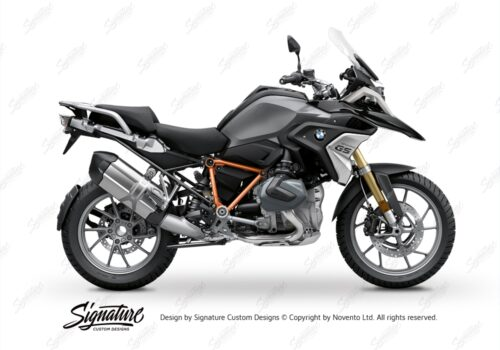 BFS 3342 BMW R1250GS 2019 Black Storm Metallic Pyramid Frame Wrap Styling Kit Orange 01
