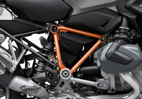 BFS 3342 BMW R1250GS 2019 Black Storm Metallic Pyramid Frame Wrap Styling Kit Orange 02