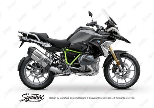 BFS 3342 BMW R1250GS 2019 Black Storm Metallic Pyramid Frame Wrap Styling Kit Toxic Green 01