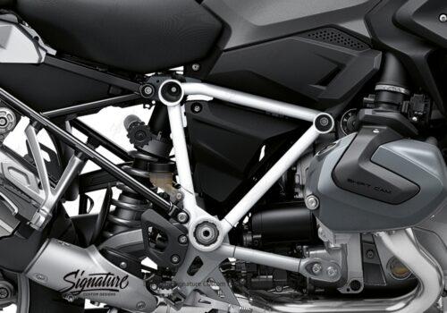 BFS 3342 BMW R1250GS 2019 Black Storm Metallic Pyramid Frame Wrap Styling Kit White 02