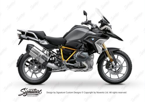 BFS 3342 BMW R1250GS 2019 Black Storm Metallic Pyramid Frame Wrap Styling Kit Yellow 01