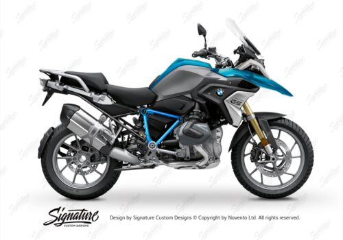 BFS 3343 BMW R1250GS 2019 Cosmic Blue Pyramid Frame Wrap Styling Kit Light Blue 01