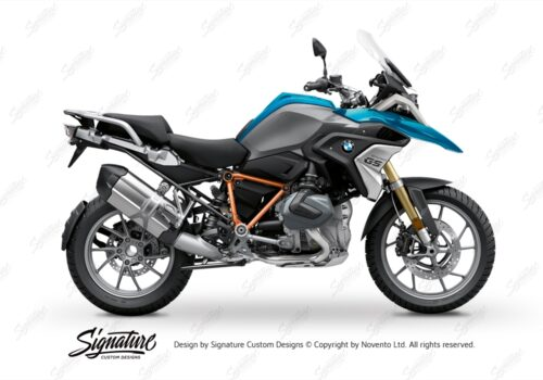 BFS 3343 BMW R1250GS 2019 Cosmic Blue Pyramid Frame Wrap Styling Kit Orange 01