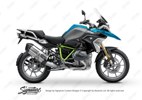 BFS 3343 BMW R1250GS 2019 Cosmic Blue Pyramid Frame Wrap Styling Kit Toxic Green 01