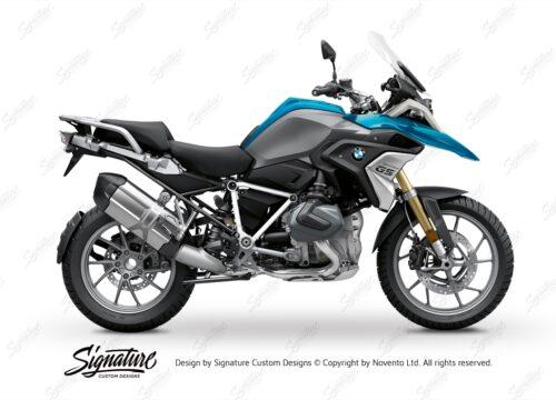 BFS 3343 BMW R1250GS 2019 Cosmic Blue Pyramid Frame Wrap Styling Kit White 01