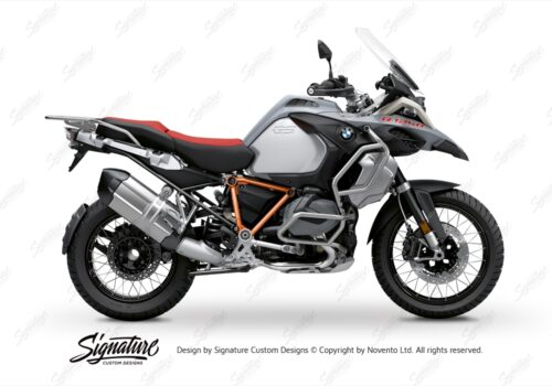 BFS 3345 BMW R1250GS Adventure 2019 Ice Grey Pyramid Frame Wrap Styling Kit Orange 01