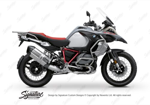 BFS 3345 BMW R1250GS Adventure 2019 Ice Grey Pyramid Frame Wrap Styling Kit Red 01