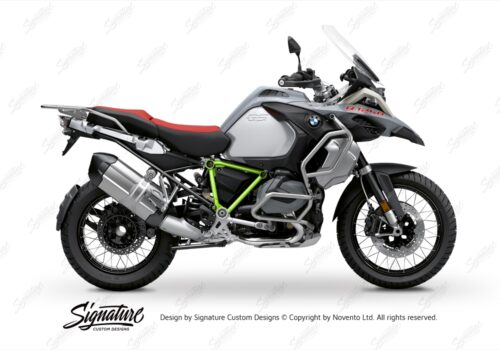 BFS 3345 BMW R1250GS Adventure 2019 Ice Grey Pyramid Frame Wrap Styling Kit Toxic Green 01