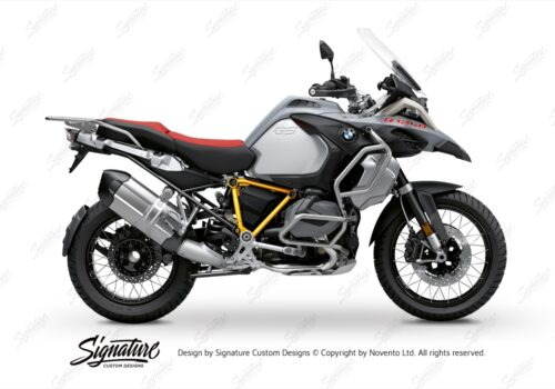 BFS 3345 BMW R1250GS Adventure 2019 Ice Grey Pyramid Frame Wrap Styling Kit Yellow 01
