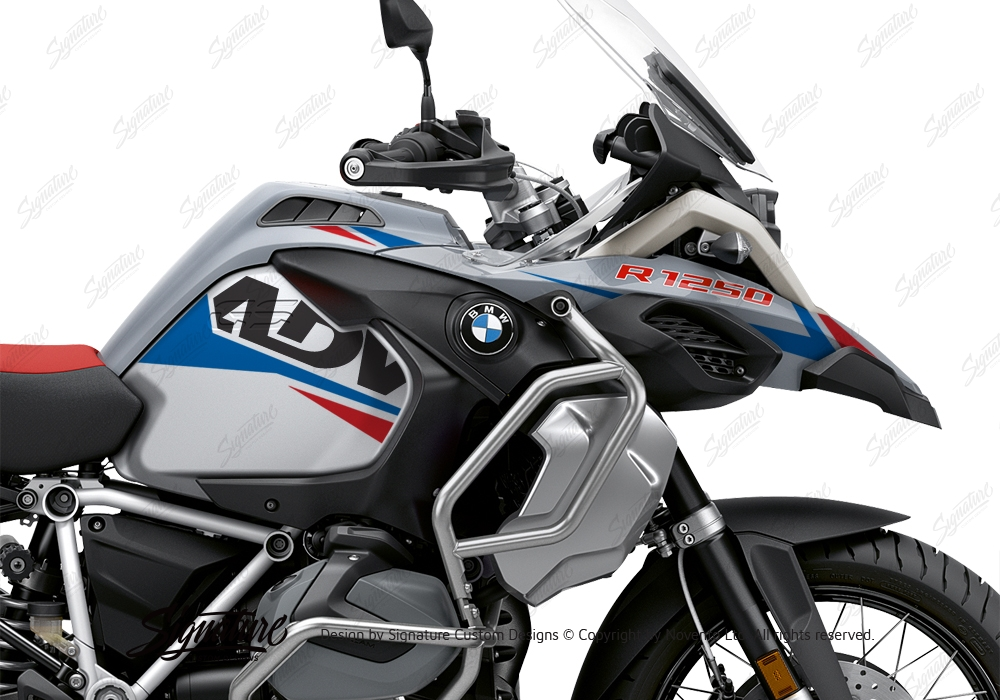 bmw r1250gs adventure ice grey alive red blue stickers. Black Bedroom Furniture Sets. Home Design Ideas