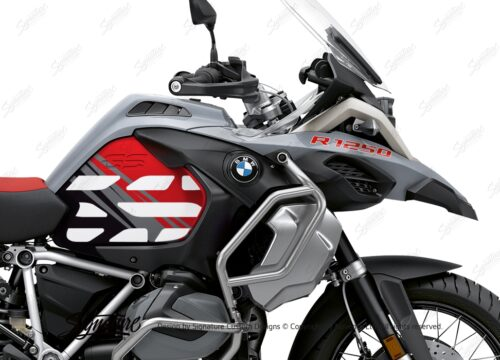 BSTI 3408 BMW R1250GS Adventure Ice Grey Anniversary Limited Edition Tank Stickers Red Black 02