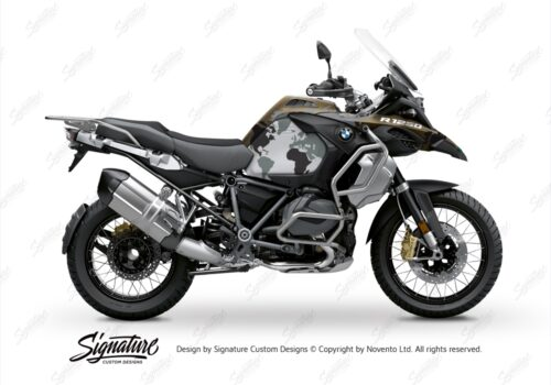 BKIT 3572 BMW R1250GS Adventure Style Exclusive The Globe Black Grey Stickers Kit 01