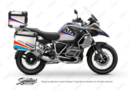 BSTI 3529 BMW R1250GS Adventure Top Box Vivo Royal Blue Light Blue Fluo Red Stickers Kit 01