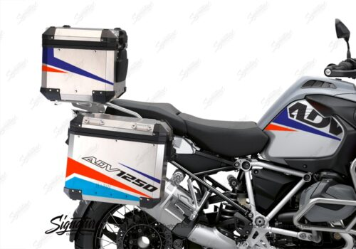 BSTI 3529 BMW R1250GS Adventure Top Box Vivo Royal Blue Light Blue Fluo Red Stickers Kit 02