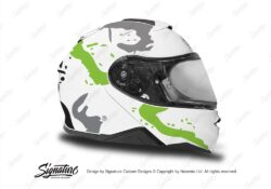 HEL 3646 Shoei Neotec II White Safari Series Toxic Green Grey Stickers Kit Right
