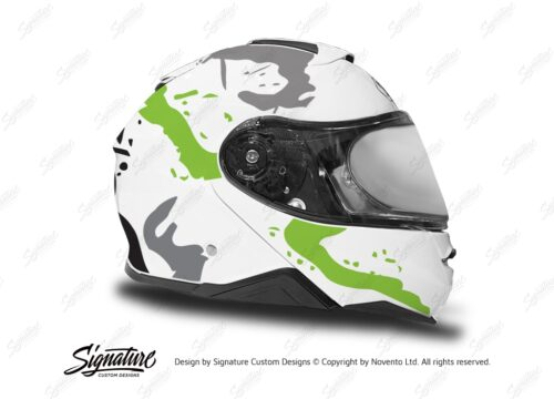 HEL 3646 Shoei Neotec II White Safari Series Toxic Green Grey Stickers Kit Right