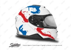 HEL 3647 Shoei Neotec II White Safari Series Red Blue Stickers Kit Right