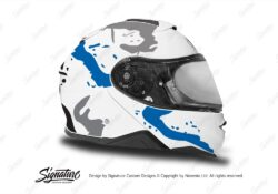 HEL 3648 Shoei Neotec II White Safari Series Blue Grey Stickers Kit Right