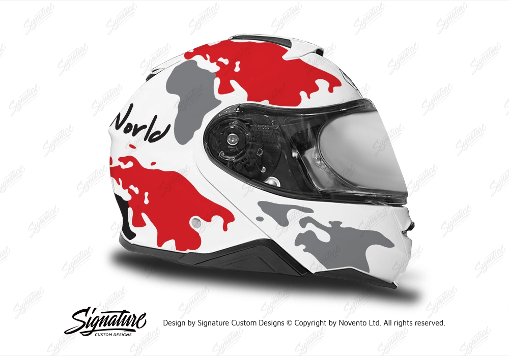 release date: united kingdom online for sale Shoei Neotec II (White) The Globe Red & Grey Stickers | Signature ...