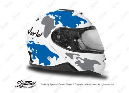 HEL 3650 Shoei Neotec II White The Globe Series Blue Grey Stickers Kit Right