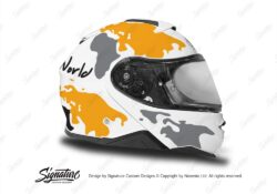 HEL 3651 Shoei Neotec II White The Globe Series Yellow Grey Stickers Kit Right