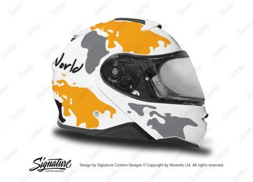 HEL 3651 Shoei Neotec II White The Globe Series Yellow Grey Stickers Kit Right