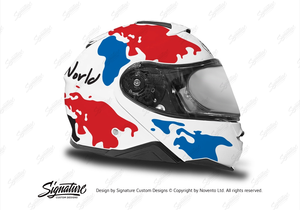 50439e34 HEL 3652 Shoei Neotec II White The Globe Series Red Blue Stickers Kit Right