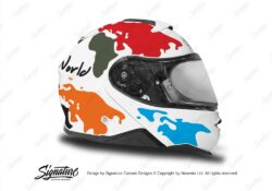 HEL 3653 Shoei Neotec II White The Globe Series Multicolour Stickers Kit Right