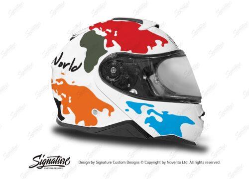 HEL 3653 Shoei Neotec II White The Globe Series Multicolour Stickers Kit Right