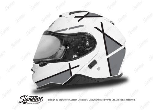 HEL 3657 Shoei Neotec II White Vector Series Grey Stickers Kit Left