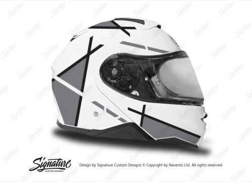 HEL 3657 Shoei Neotec II White Vector Series Grey Stickers Kit Right