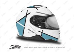 HEL 3658 Shoei Neotec II White Vector Series Light Blue Stickers Kit Right