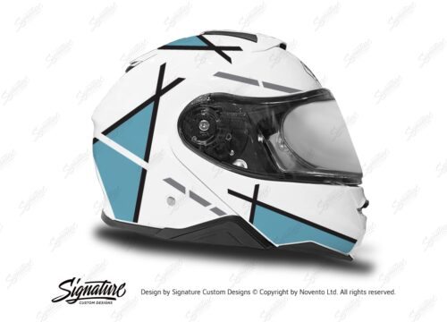 HEL 3658 Shoei Neotec II White Vector Series Light Blue Stickers Kit Right