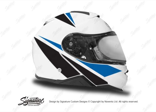 HEL 3660 Shoei Neotec II White Vivo Series Blue Black Stickers Kit Right