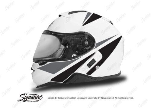 HEL 3663 Shoei Neotec II White Vivo Series Black Grey Stickers Kit Left