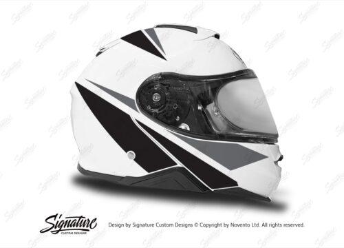 HEL 3663 Shoei Neotec II White Vivo Series Black Grey Stickers Kit Right
