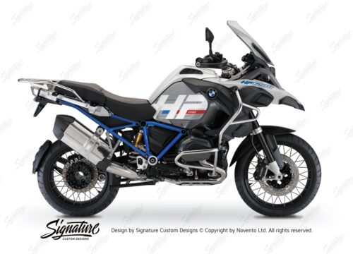 BKIT 3666 BMW R1200GS LC Adventure Alpine White HP Edition Side Tank Fender Stickers with Full Frame Blue 01