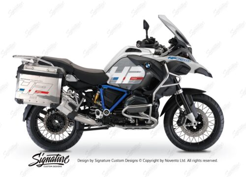 BKIT 3668 BMW R1200GS LC Adventure Alpine White HP Edition Side Tank Fender Stickers with Pyramid Frame Panniers Blue 01