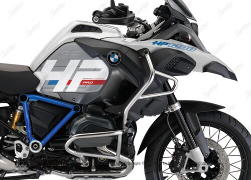 BKIT 3668 BMW R1200GS LC Adventure Alpine White HP Edition Side Tank Fender Stickers with Pyramid Frame Panniers Blue 02