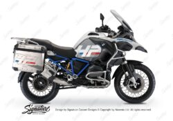 BKIT 3669 BMW R1200GS LC Adventure Alpine White HP Edition Side Tank Fender Stickers with Full Frame Panniers Blue 01