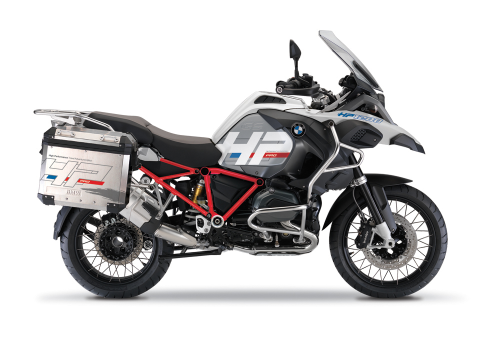 BKIT 3669 BMW R1200GS LC Adventure Alpine White HP Edition Side Tank Fender Stickers with Full Frame Panniers Red Frame 1