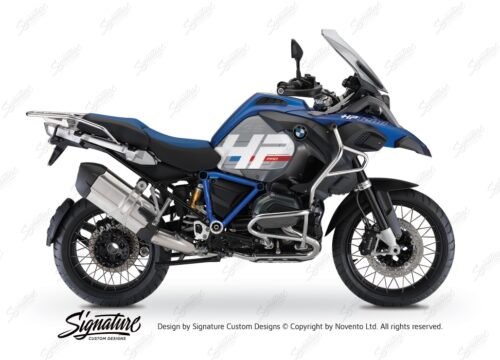 BKIT 3671 BMW R1200GS LC Adventure Racing Blue HP Edition Side Tank Fender Stickers with Pyramid Frame Blue 01