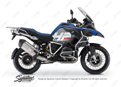 BKIT 3671 BMW R1200GS LC Adventure Racing Blue HP Edition Side Tank Fender Stickers with Pyramid Frame White 01
