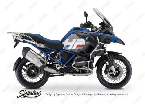 BKIT 3672 BMW R1200GS LC Adventure Racing Blue HP Edition Side Tank Fender Stickers with Full Frame Blue 01