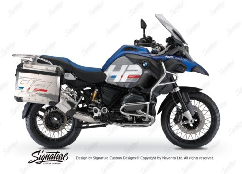 BKIT 3673 BMW R1200GS LC Adventure Racing Blue HP Edition Side Tank Fender Stickers with Panniers 01