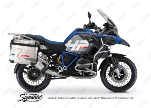 BKIT 3674 BMW R1200GS LC Adventure Racing Blue HP Edition Side Tank Fender Stickers with Pyramid Frame Panniers Blue 01
