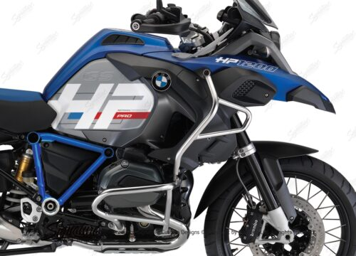 BKIT 3674 BMW R1200GS LC Adventure Racing Blue HP Edition Side Tank Fender Stickers with Pyramid Frame Panniers Blue 02